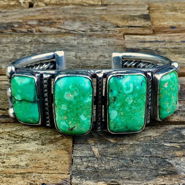 SOLD 1920s GREEN, YELLOW & PYRITE 4 BIG GREEN TURQUOISE STONES HEAVY BIG WRIST CUFF BRACELET