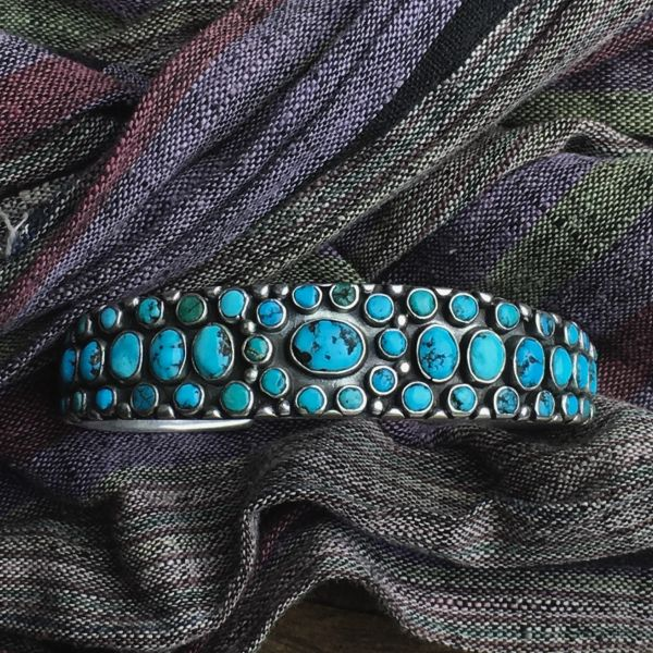 SOLD 1920's MANY TINY TURQUOISE STONES OF LIGHT BLUE & GREEN STAMPED INGOT SILVER CUFF BRACELET
