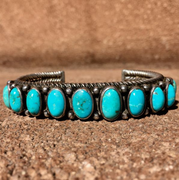 SOLD 1920s HAND-PULLED & TWISTED INGOT SILVER & LIGHT BLUE 11 TURQUOISE STONE CUFF BRACELET