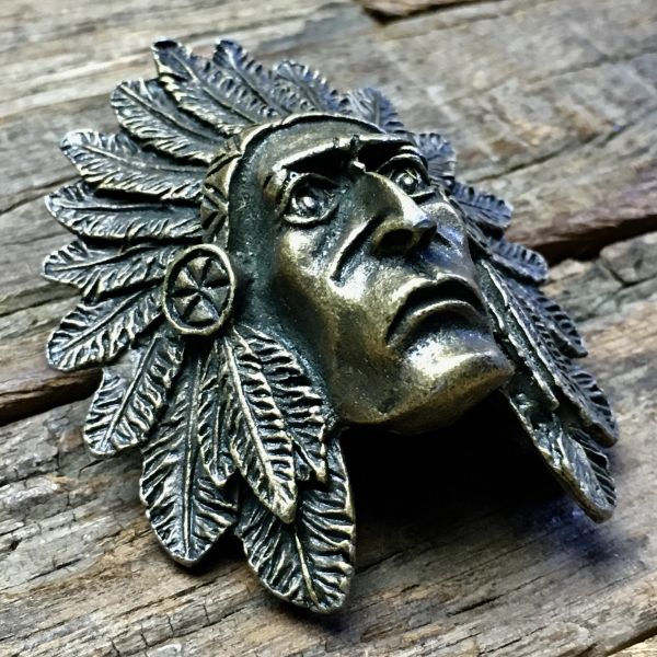 BRASS INDIAN CHIEF HEAD BANDANNA SLIDER