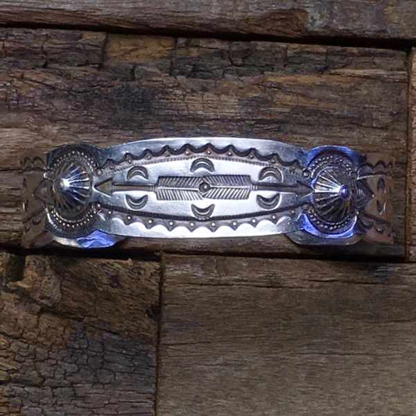 SOLD 1920s INGOT SILVER SMALL WRIST REPOUSSE' & ARROWS STAMPED CUFF BRACELET
