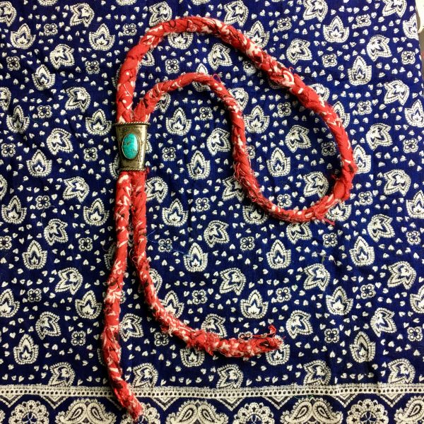 1920s LITTLE BOY'S BOLO TIE ON ON RED VINTAGE BRAIDED BANDANNA