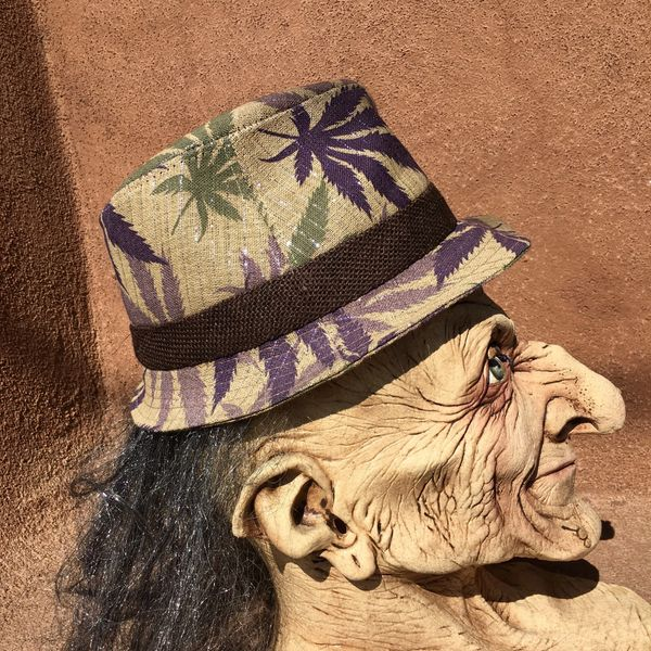 COMTEMPORARY HEMP FEDORA WITH SILVER PINSTRIPES & POT MULTICOLORED LEAVES