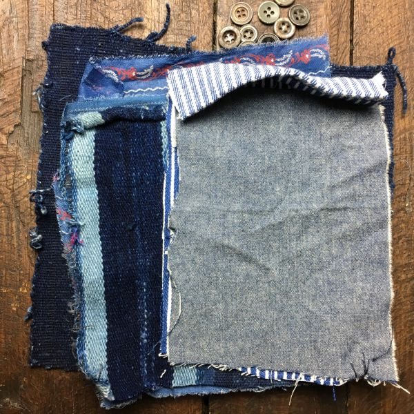 SOLD #2 MOSTLY 100 YEAR OLD WORKWEAR METAL BUTTONS AND INDIGO TEXTILE PATCHES