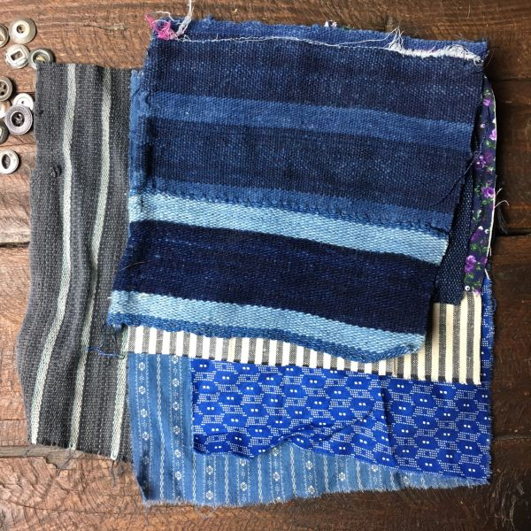 #3 MOSTLY 100 YEAR OLD WORKWEAR METAL BUTTONS AND INDIGO TEXTILE PATCHES