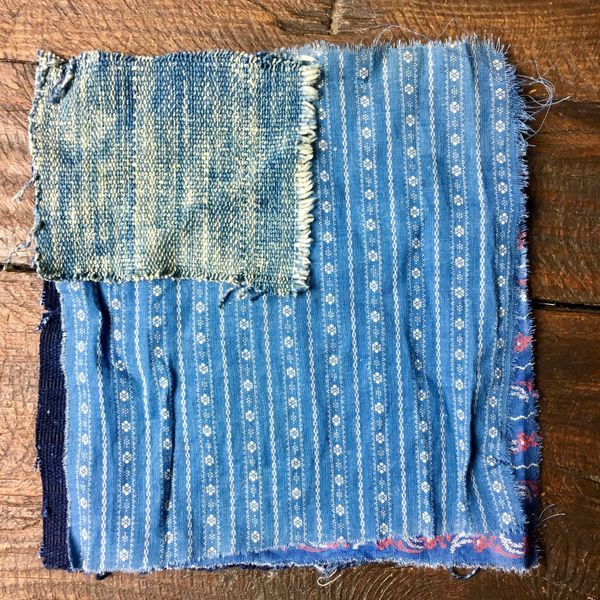 SOLD #4 MOSTLY 100 YEAR OLD WORKWEAR METAL BUTTONS AND INDIGO TEXTILE PATCHES