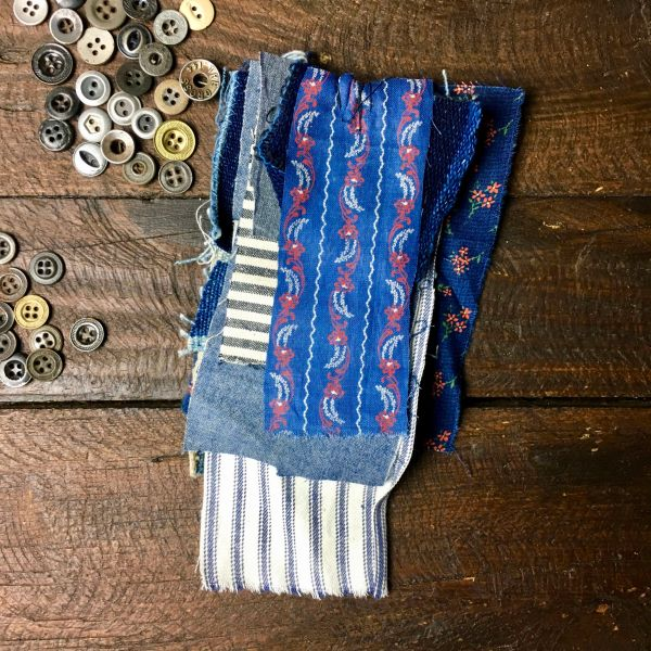 #7 MOSTLY 100 YEAR OLD WORKWEAR METAL BUTTONS AND INDIGO TEXTILE PATCHES