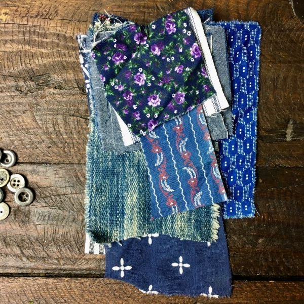 #14 MOSTLY 100 YEAR OLD WORKWEAR METAL BUTTONS AND INDIGO TEXTILE PATCHES