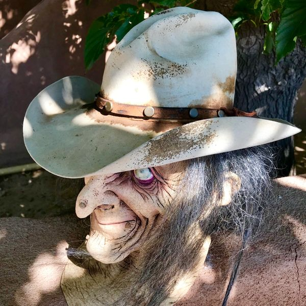 SOLD VINTAGE BEAVER SKIN RODEO COWBOY HAT FROM NEW MEXICO WITH STAINS AND STUDDED BAND