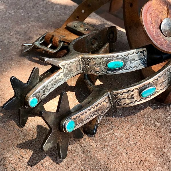 SOLD 1940s NAVAJO FANCY BLUE GEM AND SILVER OVERLAY SPURS
