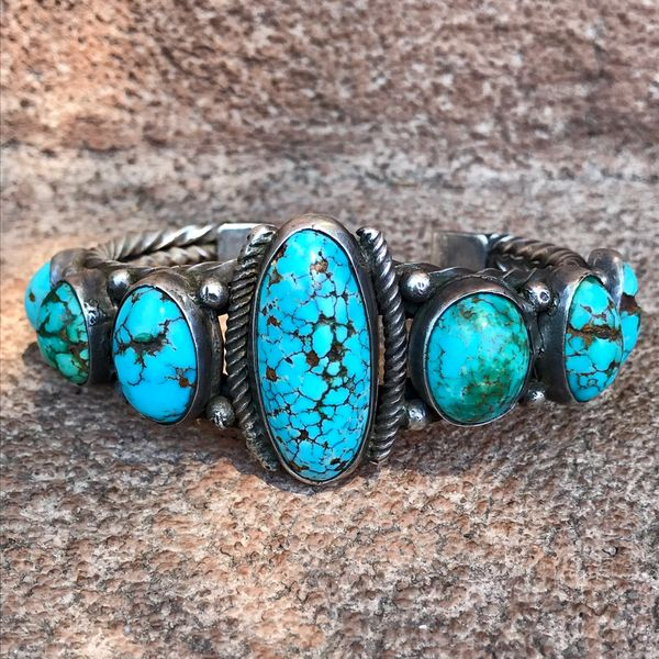 1920s GINORMOUS WRIST 7 PERSIAN TURQUOISE STONE HAND PULLED TWISTED INGOT SILVER WIRE CUFF BRACELET