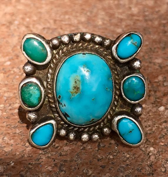 SOLD 1920s RESPLENDENT BLUE BUTTERFLY STYLE TURQUOISE AND INGOT SILVER RING