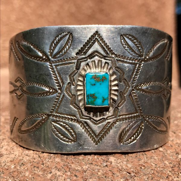 SOLD 1920s EXTRA WIDE STAMPED INGOT SILVER CUFF BRACELET WITH RECTANGULAR BLUE GEM TURQUOISE STONE