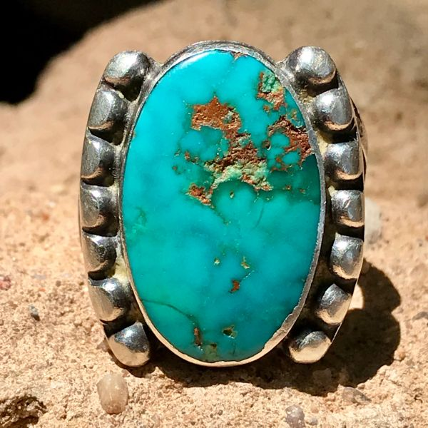 SOLD 1920s BLUE GEM OVAL TURQUOISE AND INGOT SILVER RING