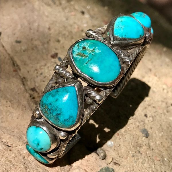 SOLD 1920s HAND PULLED WROUGHT TWISTED INGOT SILVER WIRE AND 7 MULTI COLORED BLUE TURQUOISE STONES CUFF BRACELET