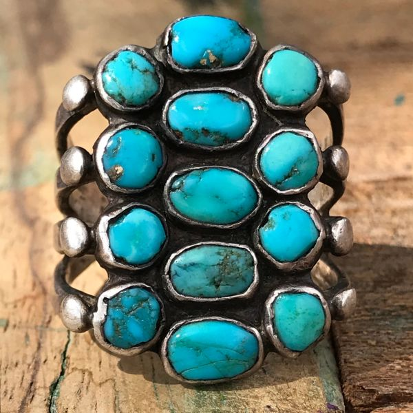 SOLD 1920s INGOT SILVER & 13 BLUE TURQUOISE ROUND STONES HUGE FINGER LONG RING