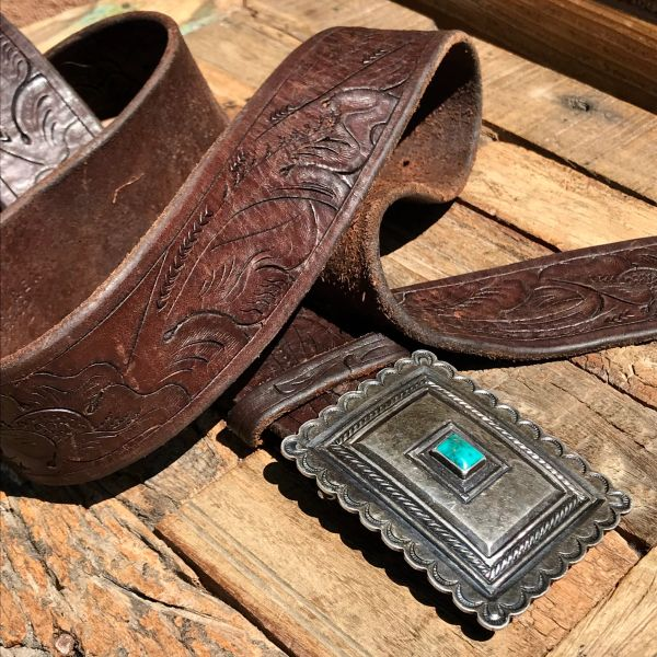 SOLD 1940s CHISELED INGOT SILVER & TURQUOISE STONE BELT BUCKLE ON TOOLED LEATHER RALPH LAUREN BELT
