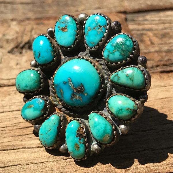 SOLD 1920s HUGE ROUND FLORAL ZUNI CLUSTER TURQUOISE RING