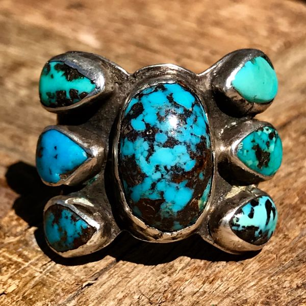 SOLD 1920s INGOT SILVER TURQUOISE BUTTERFLY SHAPED BISBEE TURQUOISE RING