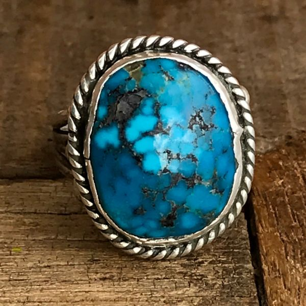 SOLD 1960s WATERWEB KINGMAN TURQUOISE ROUND DOMED STONE SILVER RING