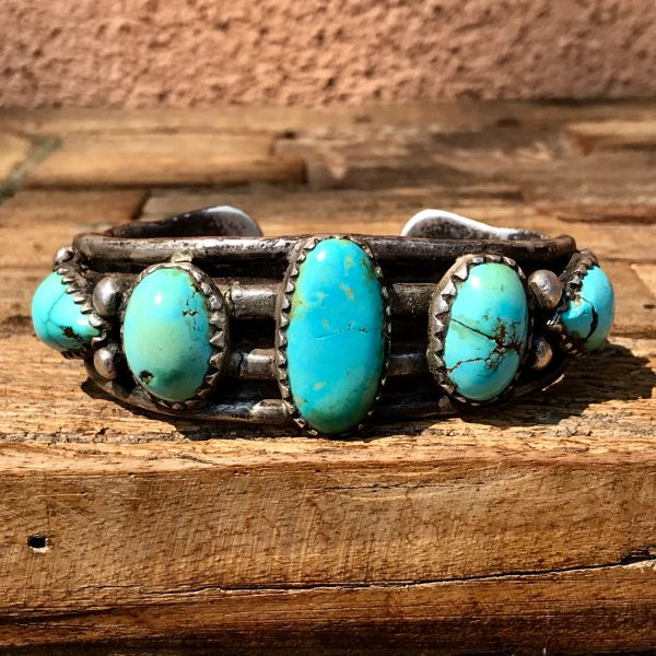 SOLD 1900s PERSIAN TURQUOISE SPLIT SHANK BACK PLATE-REPAIRED BIG MAN'S INGOT SILVER CUFF BRACELET WITH TERMINAL STONES