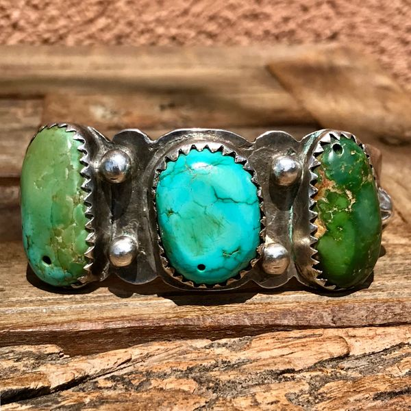 SOLD 1920s MACHINE DRILLED TURQUOISE TABS REPOUSSE' PEYOTE BUTTON THICK INGOT SILVER CUFF