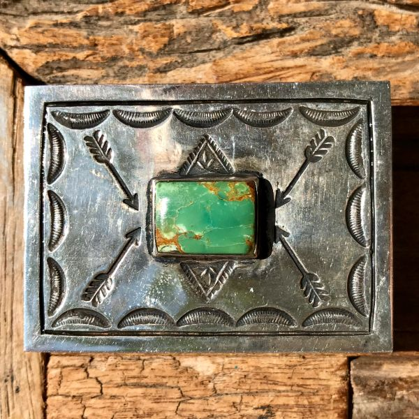 SOLD 1920s ARROW STAMPED GREEN CERILLOS TURQUOISE SILVER BELT BUCKLE