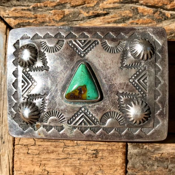 SOLD 1920s REPOUSSE' PEYOTE BUTTON TRIANGLE SHAPED GREEN TURQUOISE SILVER BELT BUCKLE