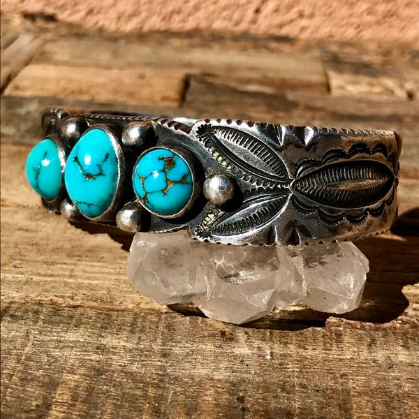 SOLD UNKNOWN AGE THICK INGOT SILVER SERRATED, CHISELED & STAMPED 3 DOMED BLUE TURQUOISE STONES CUFF BRACELET