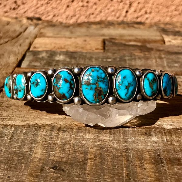 1940s GEM QUALITY BLUE TURQUOISE & HANDMADE STAMPS INGOT SILVER ROW CUFF BRACELET