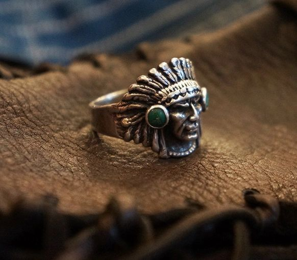 SOLD 1940s TURQUOISE INDIAN CHIEF HEAD MENS BIKER PINKY RING
