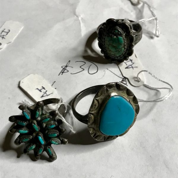 SOLD WHOLESALE 44 ANTIQUE TURQUOISE SILVER RINGS & 2 BRACELETS TO PARIS NOT INCLUDING SHIPPING