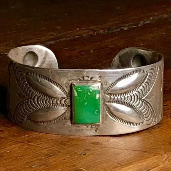 SOLD 1920s REPOUSSE' PEYOTE BUTTON FEATHER STAMP GREEN TURQUOISE WIDE INGOT SILVER CUFF BRACELET