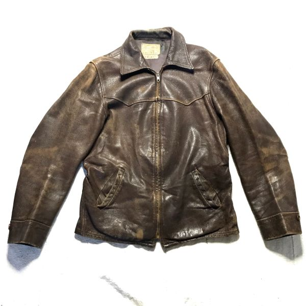 1930s GOATSKIN LEATHER FIELD & STREAM MENS CAR COAT