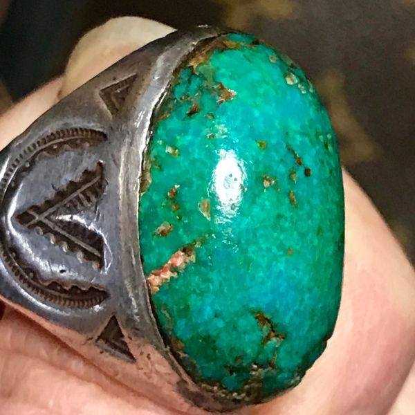 SOLD 1920s GIANT CARIBBEAN BLUE (despite photographing green) TRADING POST STAMPED RING WITH VIVID TALL BLUE OVAL STONE