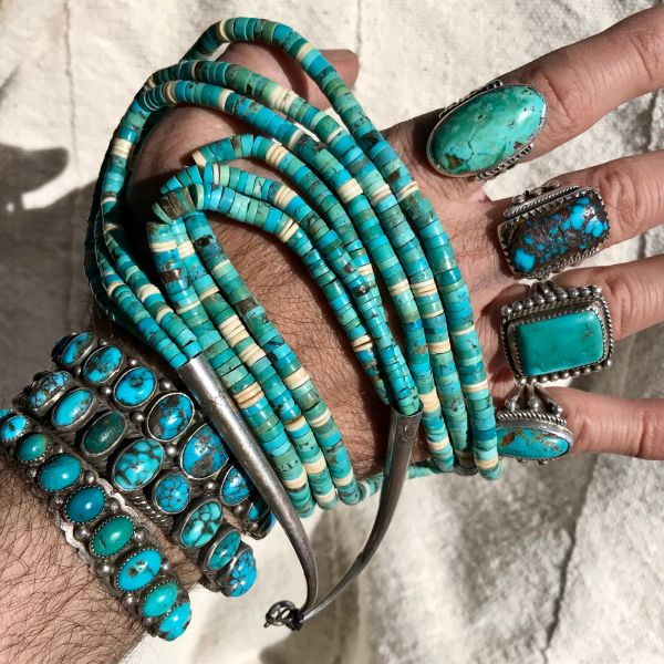 SOLD 1970s 3 STRAND TURQUOISE & SHELL HEISHI BEAD NECKLACE WITH SILVER TIPS