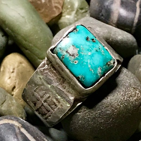 1880s INGOT SILVER WHIRLING LOG CIGAR BAND & BRIGHT BLUE TURQUOISE RING
