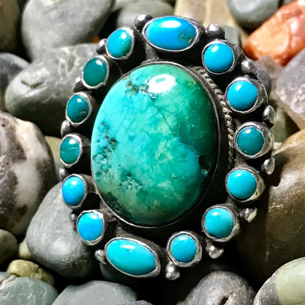 SOLD 1930s 16 BLUE & GREEN TURQUOISE STONE INGOT SILVER HUMONGOUS RING