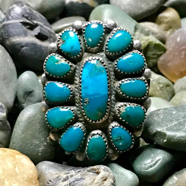 1950s CARIBBEAN BLUE GREEN ZUNI TURQUOISE SILVER CLUSTER RING