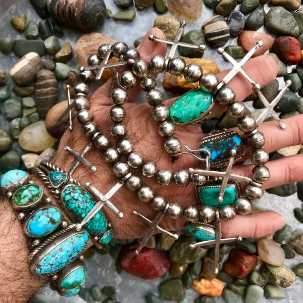 """SOLD 1920s PUEBLO CROSS & BENCH BEAD SILVER HAND WROUGHT NECKLACE ATELIER RESTRUNG ON LEATHER CORD 20"""""""