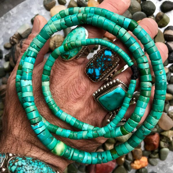 "SOLD 1800s OR OLDER PUEBLO OR NAVAJO 34"" & 30"" BLUE, YELLOW & GREEN TURQUOISE HEISHI BEAD LONG NECKLACE 2 PIECE SET"