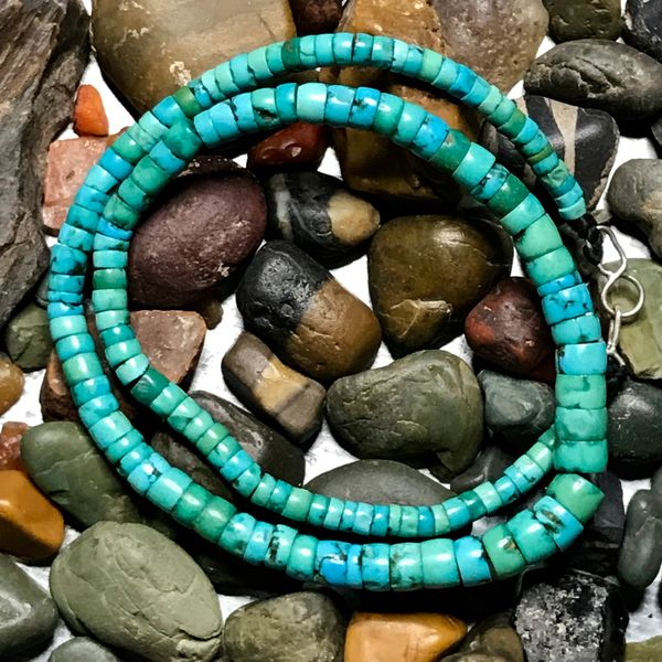 "SOLD 1800s LIGHT GREEN & BLUE SMOOTH FROM AGE HUGE HOLED TURQUOISE HEISHI BEAD CHOKER NECKLACE 14"" LONG"