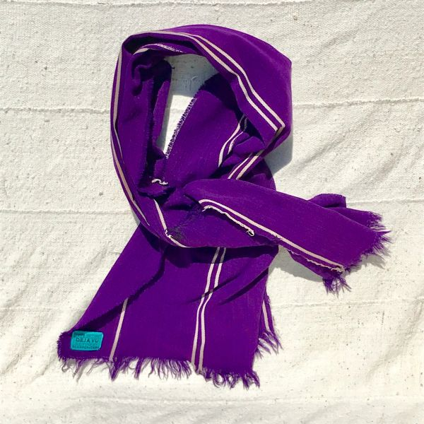 100 YEAR OLD PURPLE WHITE HAND-DYED HANDWOVEN AFRICAN KOBA CLOTH SCARF STOLE SHAWL
