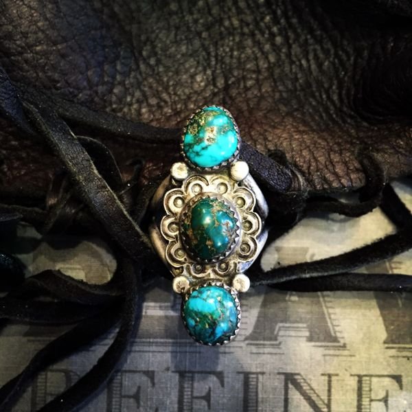 SOLD 1930s PERSIAN TURQUOISE STAMPED SILVER RING