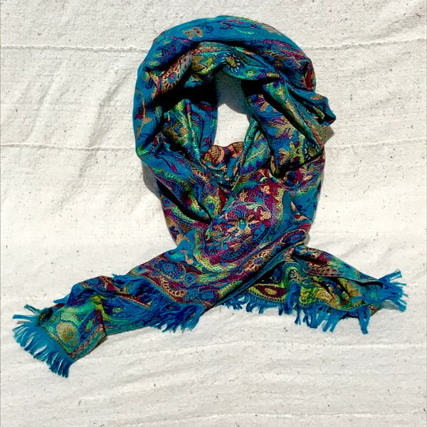 100% SILK JAMAWAR KASHMIRI STOLE SHAWL SCARF IN DARK BLUE RED GREEN AND YELLOW