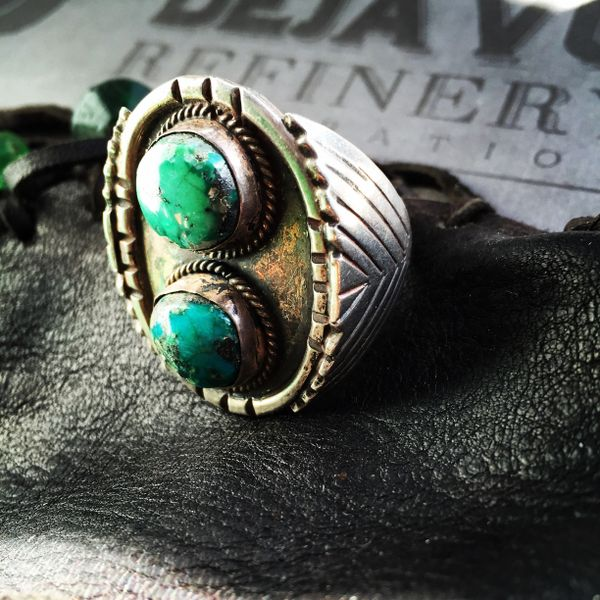 SOLD 1940s BANDANNA SLIDER TURQUOISE RING SIZE 14.5
