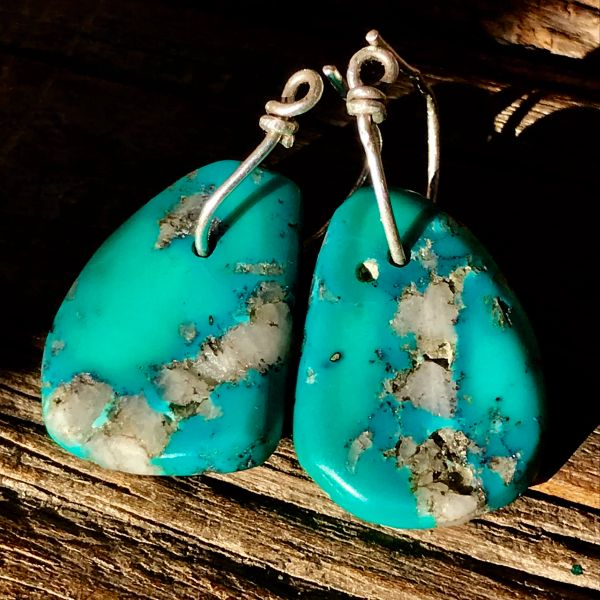 SOLD 1800s or EARLIER BIG THICK NEON BLUE TURQUOISE TAB EARRINGS WITH QUARTZ CRYSTAL & ATELIER MADE SILVER HOOPS