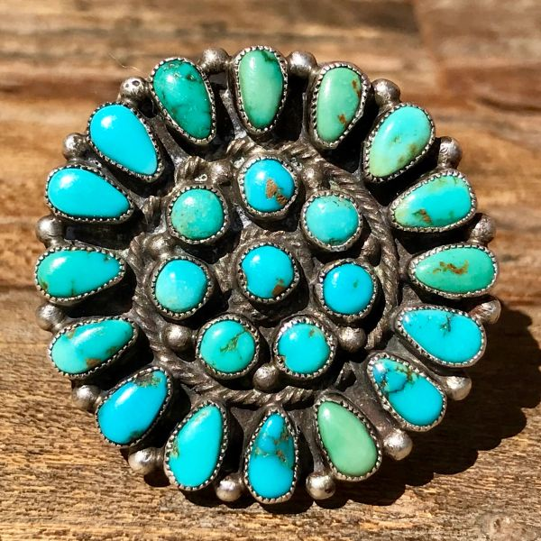1940s HUGE ROUND PETIT POINT BLUE & GREEN TURQUOISE SILVER CLUSTER TING