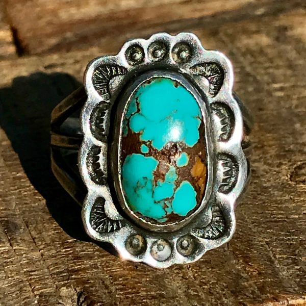 SOLD 1920s BLUE OVAL TURQUOISE STAMPED SILVER PINKY RING