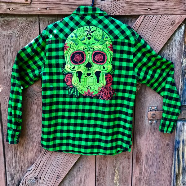 NEON GREEN BUFFALO CHECK FLANNEL PLAID COTTON WESTERN BLACK SNAP SUGAR SKULL SHIRT